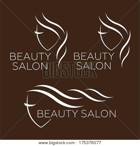 Beautiful woman vector logo template for hair salon