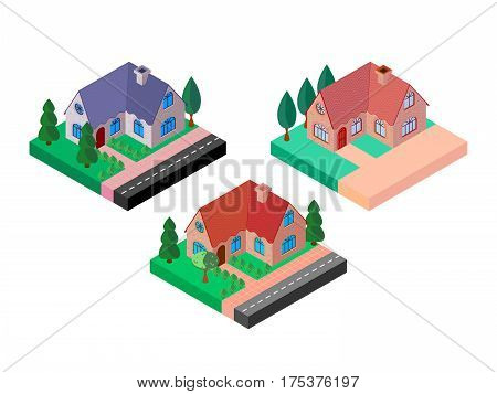 Selection of bright colorful isometric icons of mansions
