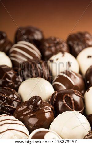 Assorted Dark, Milk and White Chocolate Candies / Pralines / Truffles