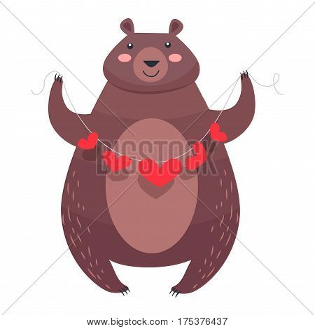 Bear with a necklace of hearts isolated on white. Teddy bear with pink cheeks holding garland of red hearts. Valentine s Day greeting card design with animal. Vector illustration love concept
