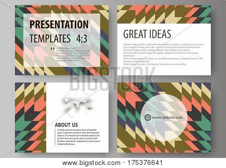 Set of business templates for presentation slides. Easy editable abstract vector layouts in flat design. Tribal pattern, geometrical ornament in ethno syle, ethnic hipster backdrop, vintage fashion background.
