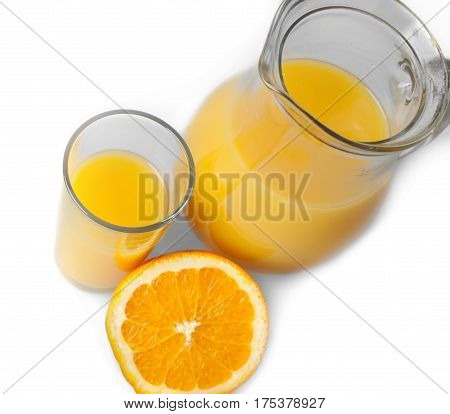 Pitcher and glass of freshly squeezed orange juice
