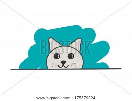 The head of a cunning cat on a white background