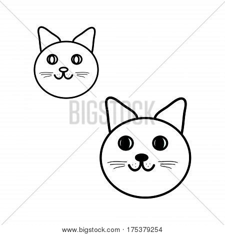 Round cat s head set illustration in black and white, vector