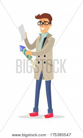 Isolated man in beige coat, blue jeans, light scarf and red shoes holds rocket and reads instruction. Vector portrait of cartoon smiling male person in glasses going to make firework party