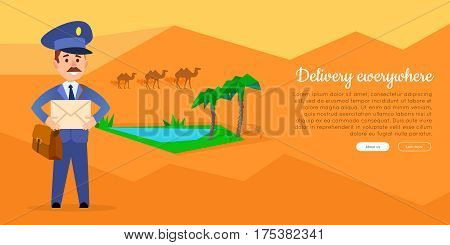 Delivery everywhere cartoon web banner. Postman in uniform with mailbag holding envelope on desert background with oasis flat vector illustration. Horizontal concept for mail company landing page