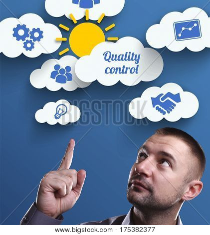 Business, Technology, Internet And Marketing. Young Businessman Thinking About: Quality Control