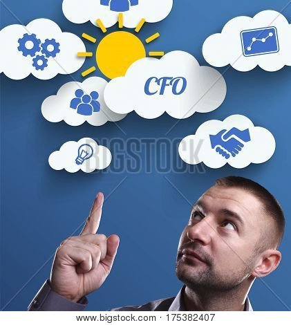 Business, Technology, Internet And Marketing. Young Businessman Thinking About: Cfo