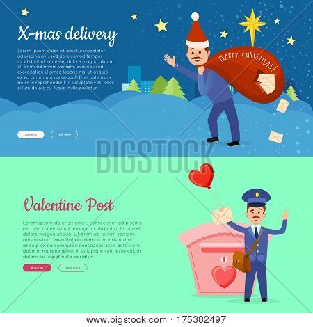 Xmas delivery and Valentine post banner with postman. Mailman with bag of letters. Express messenger to 14 of February love concept. Vector illustration of advertisement web poster in cartoon style
