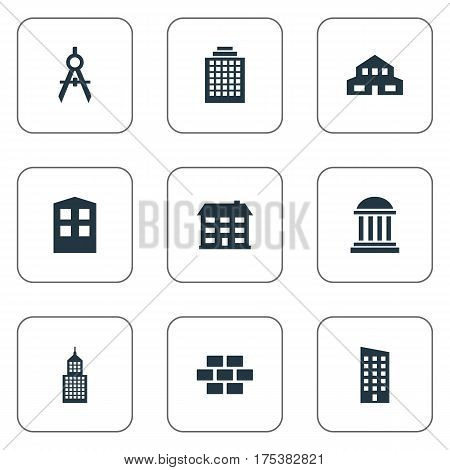 Vector Illustration Set Of Simple Architecture Icons. Elements Academy, Offices, Engineer Tool And Other Synonyms House, Stone And Direction.