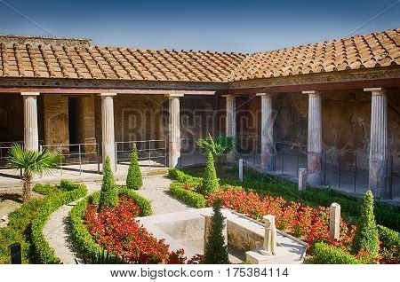 Typical luxury house in Pompeii. Pompeii was destroyed, during a catastrophic eruption of the volcano Vesuvius spanning in AD 79.