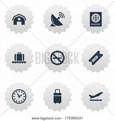 Vector Illustration Set Of Simple Plane Icons. Elements Luggage Carousel, Certificate Of Citizenship, Garage And Other Synonyms Bag, Satelite And Luggage.