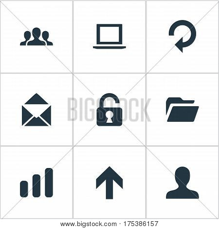 Vector Illustration Set Of Simple Apps Icons. Elements Community, Upward Direction, Envelope And Other Synonyms Padlock, Laptop And Envelope.