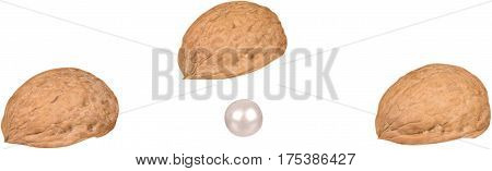 Guessing Game With Walnut Shells And Pear - Isolated