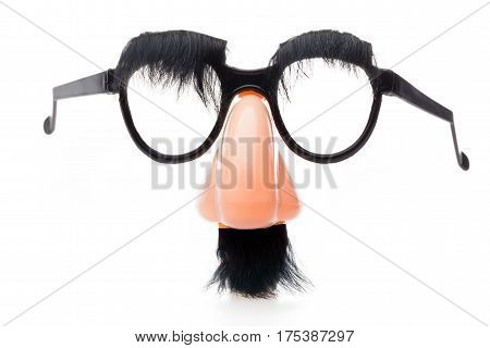 Classic Disguise Mask with Fake Nose and Moustache, Isolated on White