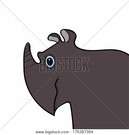 Rhino cute funny cartoon head. Vector illustration