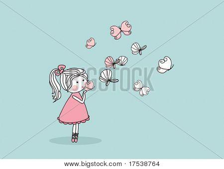 girl blowing butterflies