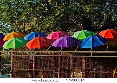 Detail of colorful umbrellas on a roof of a small building in Belgrade, Serbia