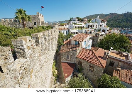 MARMARIS, TURKEY - AUGUST 12, 2009: View to the old buildings of the Marmaris resort town in Marmaris, Turkey.