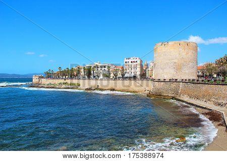 Wall in Alghero old town, Sardinia, Italy