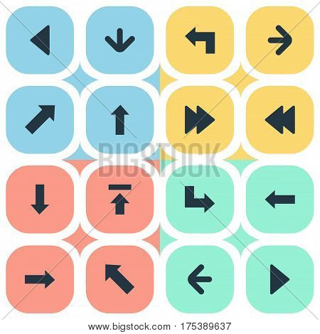 Vector Illustration Set Of Simple Pointer Icons. Elements Left Landmark , Upward Direction , Downwards Pointing Synonyms Down, Arrow And Left.