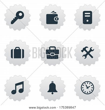 Vector Illustration Set Of Simple Accessories Icons. Elements Ring, Password, Music And Other Synonyms Billfold, Ring And Repair.
