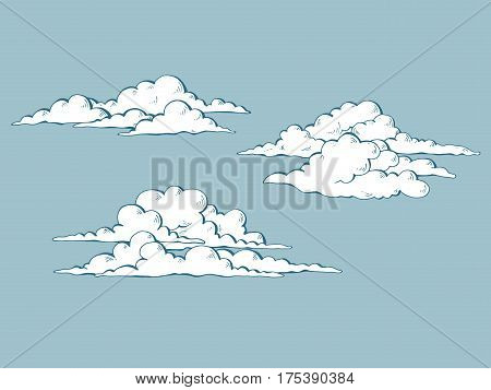 Set of cumulus clouds for your design. Vector illustration.