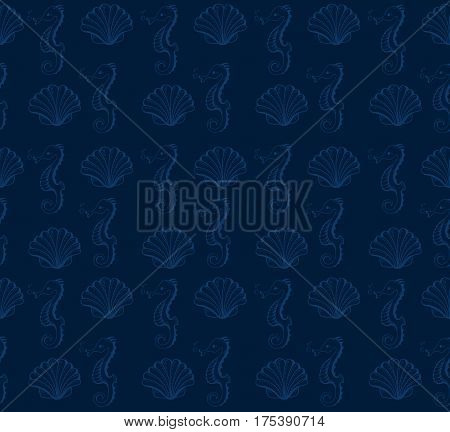 Seamless print pattern. Cute sea objects collection. Vector illustration. Under the water.