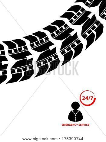 emergency service background contact 24/7, vector illustration, eps10