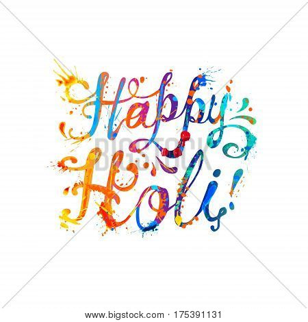 Happy Holi! Splash Paint Inscription