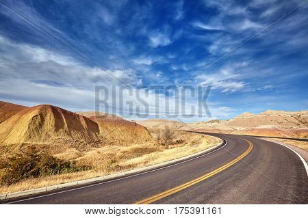 Picture Of A Scenic Desert Highway, Travel Concept.