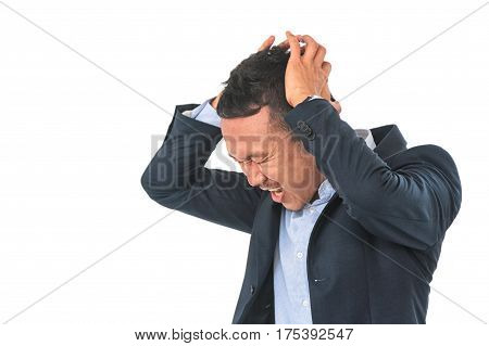 Stressed Businessman. A Young Man Holds Hands On His Head.