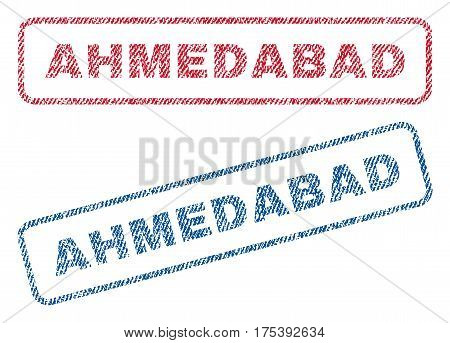 Ahmedabad text textile seal stamp watermarks. Blue, red fabric vectorized texture. Vector tag inside rounded rectangular shape. Rubber sticker with fiber textile structure.
