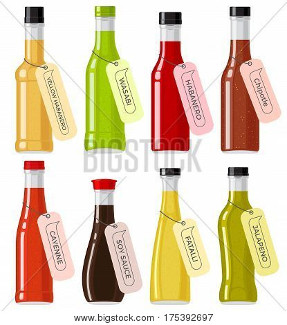 Oriental sauce kinds in glass transparent bottles on white. Bottles of yellow and red habanero, green wasabi, brown chipotle, ruddy cayenne, soy sauce, yellow fatalii and green jalapeno vector set