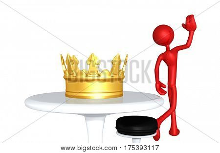 The Original 3D Character Illustration Walking Away From A Crown