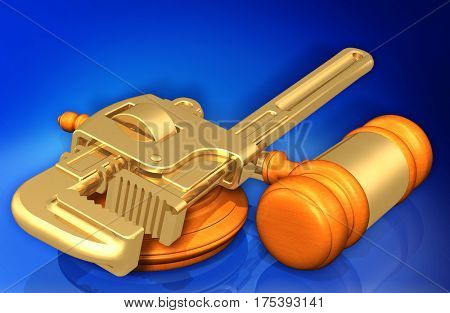 Pipe Wrench Legal Gavel Concept 3D Illustration