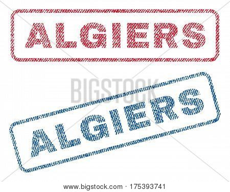 Algiers text textile seal stamp watermarks. Blue, red fabric vectorized texture. Vector tag inside rounded rectangular shape. Rubber emblem with fiber textile structure.