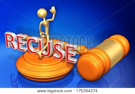 Recuse Legal Gavel Concept 3D Illustration