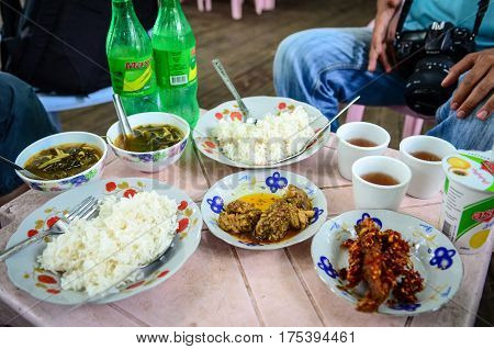 Rice Meal At Restaurant In Yangon, Myanmar