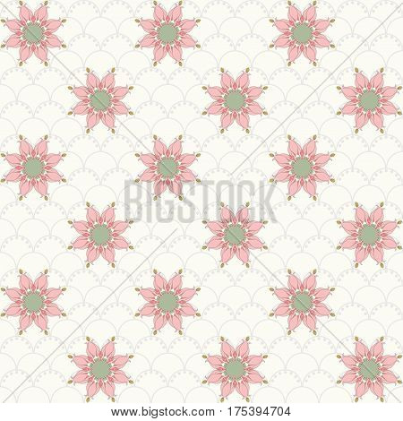 Seamless vector background. Vintage floral pattern in modern style on a simple background. Aquilegia buds. Pink and green. This ornament is part of collection patterns.
