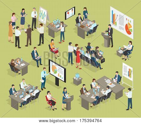 Business coaching vector collection in office. Workers with badges hanging on neck stand near stand with diagram, listen to boss, use electronic devices, discuss issues of day. Working process