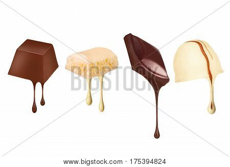 Drops of chocolate flow from different sweets isolated on white background
