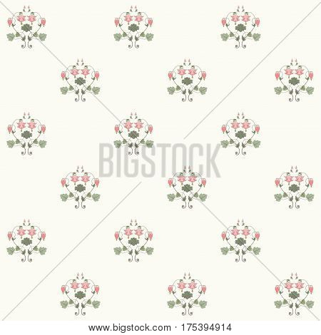 Seamless vector background. Vintage floral pattern in modern style. Aquilegia plants contain flowers buds and leaves. Pink and green.