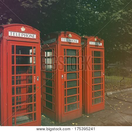 Telephone box britian style in the park