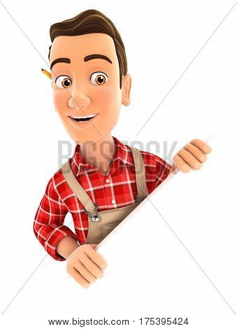 3d handyman behind diagonal wall illustration with isolated white background