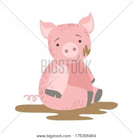 Pig In Mud Cute Toy Animal With Detailed Elements Part Of Fauna Collection Of Childish Vector Stickers. Adorable Girly Friendly Zoo Cartoon Character Flat Vector Illustration.