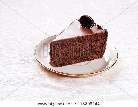 Tea time with chocolate fudge cake dessert