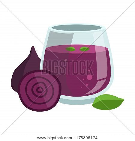 Beetroot Smoothie, Non-Alcoholic Fresh Cocktail In A Glass And The Ingredients For It Vector Illustration. Infographic Recipe Of Healthy Vegan Breakfast Drink With Fresh Juices.