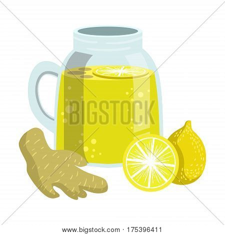Lemon And Ginger Smoothie, Non-Alcoholic Fresh Cocktail In A Glass And The Ingredients For It Vector Illustration. Infographic Recipe Of Healthy Vegan Breakfast Drink With Fresh Juices.