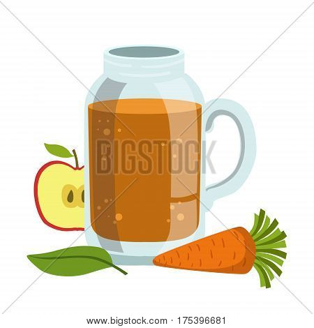 Apple And Carrot Smoothie, Non-Alcoholic Fresh Cocktail In A Glass And The Ingredients For It Vector Illustration. Infographic Recipe Of Healthy Vegan Breakfast Drink With Fresh Juices.